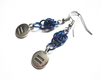 Equality sign earrings, Equals sign earrings, Equals symbol, Gay Pride earrings, LGBT earrings, Equal rights jewelry