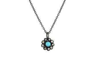 Turquoise and Rose Cut Diamond Daisy Flower Pendant in Blackened Silver