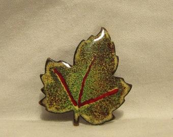 Vintage Brooch/Pin, Maple Leaf, Enamel Over Copper, 1970's