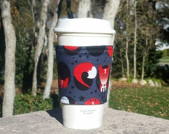 FREE SHIPPING UPGRADE with minimum -  Fabric coffee cozy / cup sleeve / coffee sleeve / drink cozy - Red Fox
