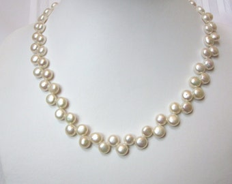 White Pearl Necklace of Zig Zag, Top-Drilled, Button, Fresh Water Cultured Pearls, Wedding, Bride, Prom, Bridal
