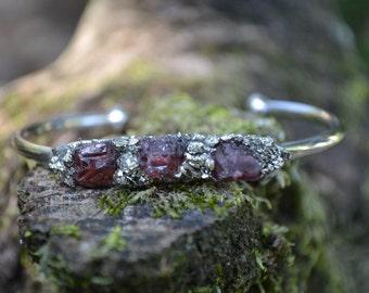 January Birthstone Gift- Garnet Bracelet, Raw Garnet Cuff Bracelet, Pyrite Bracelet, Birthstone Gift, Birthday Gift for January, Mothers Day