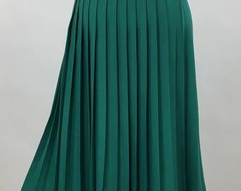 70s teal green pleated midi skirt, 1970s teal green midi