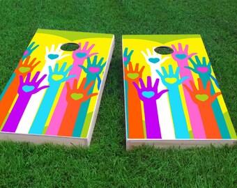 Gay Pride Hands with Hearts Themed 2x4 Custom Cornhole Board Set with bags   Custom Corn Hole   Bag Toss   Corn Toss   Bean Bag Toss