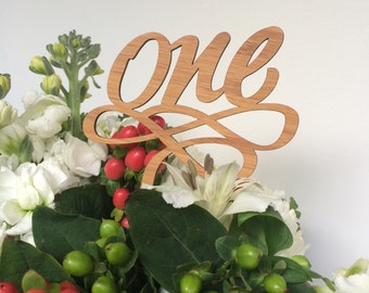 Laser Cut Bamboo Wood 'one' 1st Birthday Cake Topper