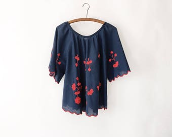 Vintage 60s Navy and Red Embroidered Peasant Blouse Shirt