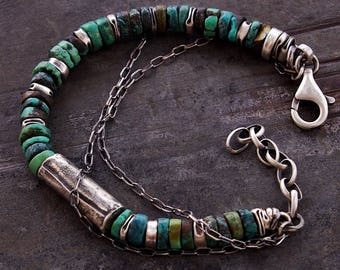 USE CODE - 15OFF • SALE 15% • raw sterling silver and natural turquoise bracelet • oxidized silver  • gift for him • birthday gift  for her