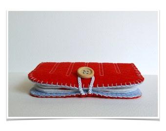 Wool Felt Needle Book Case Organizer ø Carmine  ø LoftFullOfGoodies ø Stocking Stuffer ø Holiday Gift