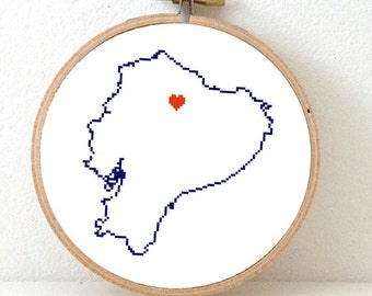 ECUADOR map modern cross stitch pattern. Ecuador with heart for Quito. Latino gift. Gift latin friend