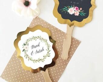 Wedding Fans Personalized Hand Fans Wedding Fan Favors Rustic Wedding Favors Paddle Fans Ceremony Fans Floral Wedding -Table Decor 24 pcs
