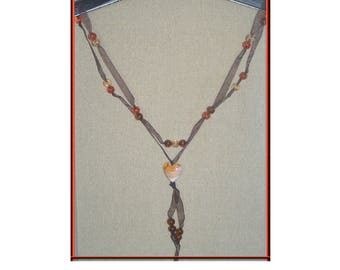 Organza necklace and crystallized effect colors orange and Brown beads + pendant