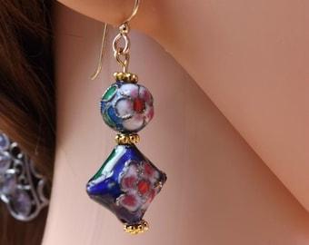 Blue cloisonné earrings, blue and gold cloisonné earrings, pretty flower earrings, dark blue and flower pattern earrings