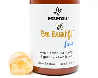 Bee Beautiful™ Face Best Organic Manuka Honey Goat Milk Luxury Face Lotion | with Olive Squalane , Avocado Oil | Normal to Dry Skin - 4 oz