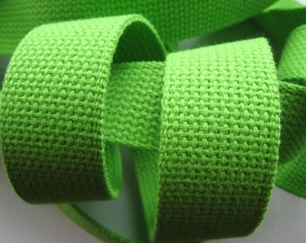 """1.25"""" Lime Green Heavyweight Cotton Webbing for Key Fobs Purses"""