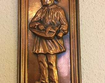 A Beautiful Vintage Copper Hand-Made & Framed Picture of a Working Man, Made in France