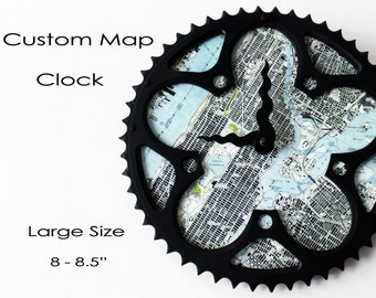 Custom Map Bicycle Clock - Large Size  |  Topographic Map Bike Gear Clock | Custom Clock  | Map Clock | Cycling Gifts