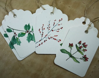 6 Winter Berry Tags - Holly Winterberry Hypericum Berries, Watercolors Set of 6, Recycled Papers, Handmade Tags