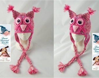 Crochet Pattern 071 - Save The Hooters Breast Cancer Owl Hat - All Sizes