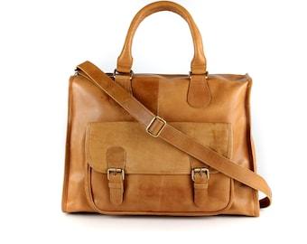 Leather Weekender /Holdall /Travel Bag, Laptop Bag, Tan