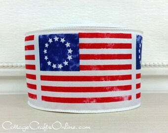 """Wired Ribbon, 2 1/2"""" Red, White and Blue Early American Flag Print, TEN YARD ROLL, """"Betsy Ross"""" Patriotic July 4th Wire Edged  Ribbon"""