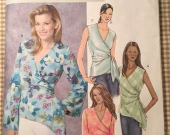 Wrap Top Easy Butterick 4395 Size BB 8 10 12 14 Sewing Pattern Uncut Factory Folded UC FF Womens Misses Long sleeve v neck short sleeve