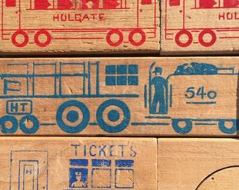 Vintage Hogate Toys RAILROAD BLOCK SET - 28 pieces