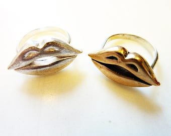 Hot Lips Rings, Cast Bronze or Sterling Silver, Mouth, Smile Face, Body Jewelry, Kiss Rings, Valentine, Love