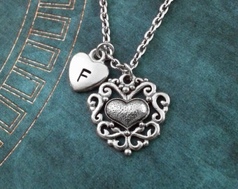 Heart Necklace, Valentine's Necklace, Personalized Necklace, Filigree Heart Pendant Valentine's Day Jewelry, Ornamental Heart Charm Necklace