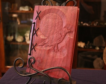 Customizable Wood and Leather Bound Blank Journal - Raven Full Moon