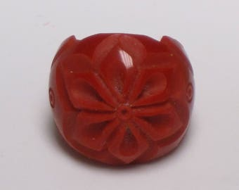 Red Resin Acrylic Bakelite Lucite Handmade Hand-Carved Ring - Size 6-3/4 to 7
