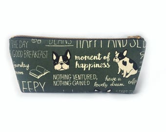French Bulldog Pencil Case- Cute Pet Gifts for Dog Lovers- Canvas Zipper Pouch- Cute Pencil Case- Frenchie Pencil Pouch- Mothers Day Gifts