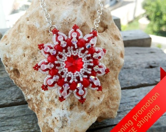 Red Jewelry, Red Pendant, Red Necklace, Red And White Necklace, Red And White Jewelry, Red Coral, Red Coral Jewelry, Red Coral Pendant