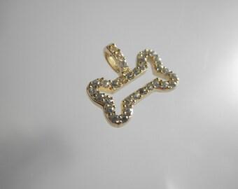 SALE - CZ gold vermeil bone pendant