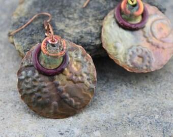 Artisan Embossed, Flame Painted Copper and Enamel with Paula Radke Dichroic Bead Earrings