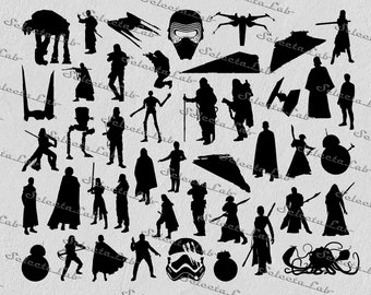 Digital SVG PNG jedi, darth vader, the last jedi, rogue one, force awakens, star wars inspired clipart, vector, silhouette, instant download
