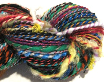 Handspun Yarn Waste Not Want Not D 184 yards rainbow yarn knitting crochet supplies waldorf doll hair art yarn merino wool