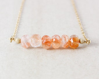 Peach Sunstone Bar Necklace - Sunstone Bar - Gold or Silver