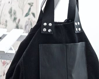 Wool and leather tote bag