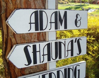 DiReCTioNaL WeDDiNg SiGnS - ArT DeCo HoLLyWooD STyLeD - Custom Wedding Arrow SIGNS - WeLCoMe ReCePTioN SiGn - CHoiCe of 3 ft OR 4ft Stake