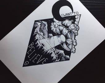 I WANT TO BELIEVE Blackwork Print
