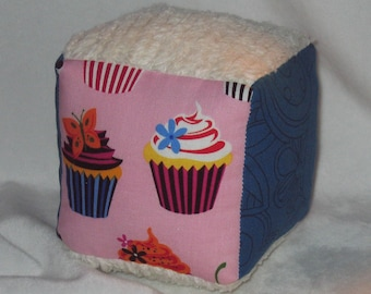Bright Pink Cupcakes and Chenille Block Rattle Toy - SALE