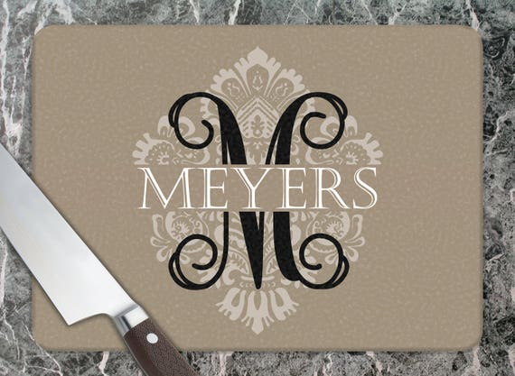 Personalized Wedding Gift Personalized Glass Cutting Board Custom Monogrammed Gifts Hostess Gifts Unique Bridal Shower Gift Housewarming
