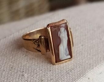 14K Gold, Carnelian Cameo Ring