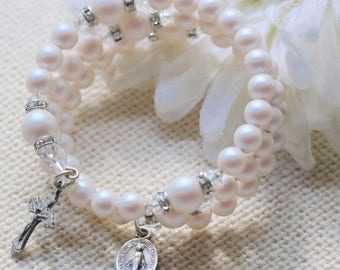 Wrap Rosary Bracelet in Pearlescent White Pearls and Silver