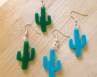 Southwestern Cactus Earrings, Small Size in Green or Turquoise Blue, Boho Chic Jewelry