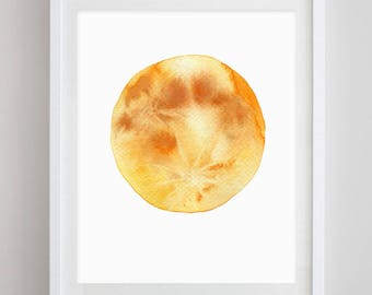 Yellow Moon Watercolor Art Print