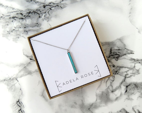 Dainty Vertical Turquoise Bar Necklace, Turquoise Necklace, Pendant Necklace, Everyday Jewelry, Statement Jewelry, Simple Necklace, Boho