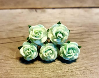 Mint Green Rose Hairpin, Wedding Hair Piece, Gift for Her, Flower Hair Pins, Christmas Gift, Hair Accessory