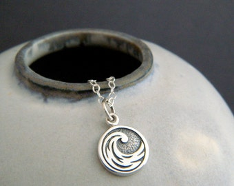 tiny silver water element necklace ocean wave small sterling four 4 elemental symbol sea charm cancer scorpio pisces yoga jewelry dainty 3/8