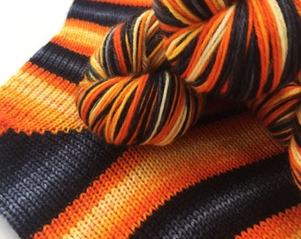 Hand dyed self striping sock yarn - Lavastream